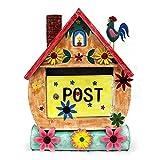 dekorativer Briefkasten Metall bemalt Haus mit Hahn inkl. Zeitungsrolle