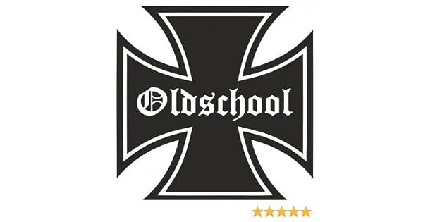 Eisernes Kreuz Oldschool Bike Motorrad Aufkleber Autoaufkleber Sticker Schwarz