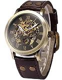 AMPM24 Herrenuhr Automatik Uhr Skelettuhr Kunstleder Armbanduhr