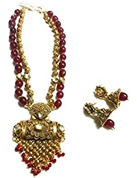 OranGey Fashion - Ultimate Coloured Pearl Gold Plated Kundan Necklace Set With Beautiful Kundan Earing Drop