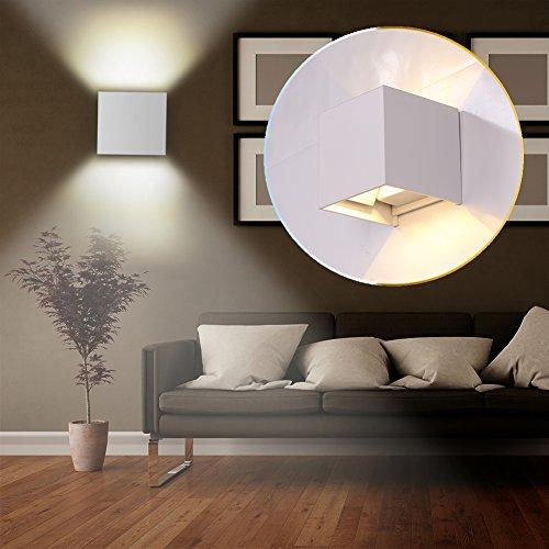 GHB 7W LED Apliques de Pared Lamparas de Pared impermeable PI65 con Luz Blanco Cálido Universal para Decoración de Casa Jardín de Lluminación de Exterior y Lluminación de
