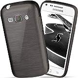 moex Samsung Galaxy Core Plus | Hülle Silikon Schwarz Brushed Back-Cover TPU Schutzhülle Ultra-Slim Handyhülle für Samsung Galaxy Core Plus Case Dünn Silikonhülle Rückseite Tasche
