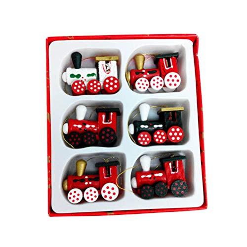 Toyvian addobbi albero di natale legno miniature natale forma trenino regali di natale natale etichette regalo 6 pezzi