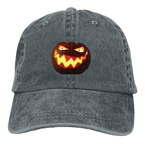 (Men&Women Halloween Pumpkin with Glowing Eye Classic Washed Dyed Cotton Solid Color Baseball Cap One Size)