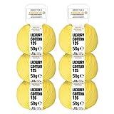 100% Baumwolle mercerisiert in 15 glänzenden Uni Farben - 300g Set (6 x 50g) - Oeko-Tex 100 zertifizierte Wolle zum Stricken & Häkeln by Hansa-Farm - Gelb