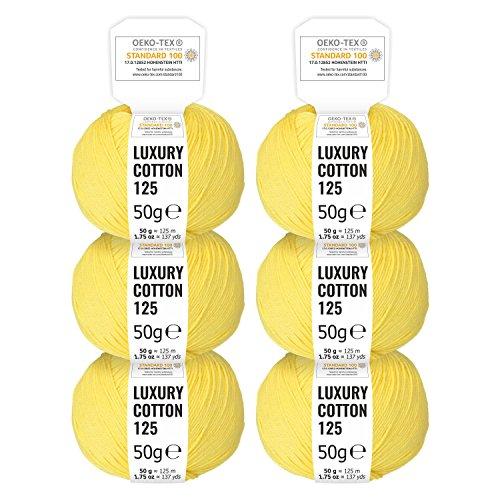risiert in 15 glänzenden Farben - 300g Set (6 x 50g) - Oeko-Tex Standard 100 zertifizierte Wolle zum Stricken & Häkeln by fairwool - Gelb (Gelb-wolle Pullover)