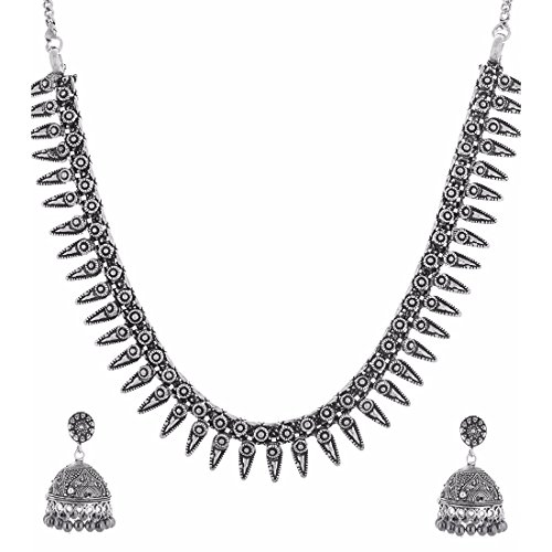 Multiline Company Antique Oxidised New Trandy Black Metal Necklaces German Silver Tribal Banjara White Pearl Beads Necklace Gypsy Style Fusion Jewellery For Women
