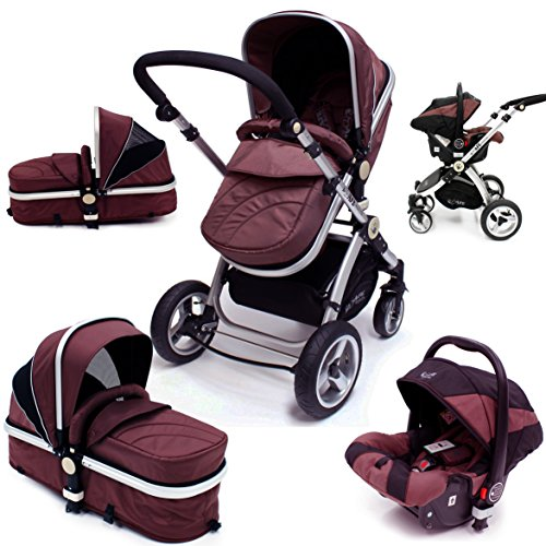 i-Safe System – Hot Chocolate Trio Travel System Pram & Luxury Stroller 3 in 1 Complete With Car Seat 51rztyc 2BefL
