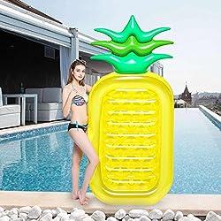 Wishtime Inflable Flotador de Piscina Hinchable colchonetas Gigante de Piña Tumbona Flotadora/ Tumbona de Piscina Juguete Playa para Adultos y Niños