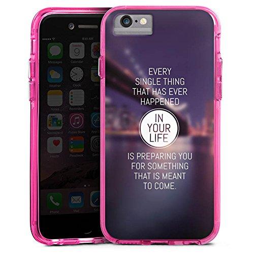 Apple iPhone 6 Bumper Hülle Bumper Case Glitzer Hülle Weisheit Vie Life Bumper Case transparent pink