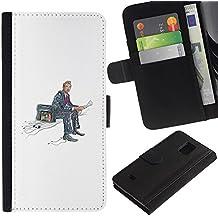 WonderWall (No Para S5) Fondo De Pantalla Imagen Diseño Cuero Voltear Ranura Tarjeta Funda Carcasa Cover Skin Case Tapa Para Samsung Galaxy S5 Mini, SM-G800 - maleta en un lado, la lectura de noticias