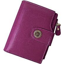 23dbd70c82a TEUEN Cartera Mujer Cuero Autentico con Bloqueo RFID Billetera Mujer Piel  Pequeña con Cremallera
