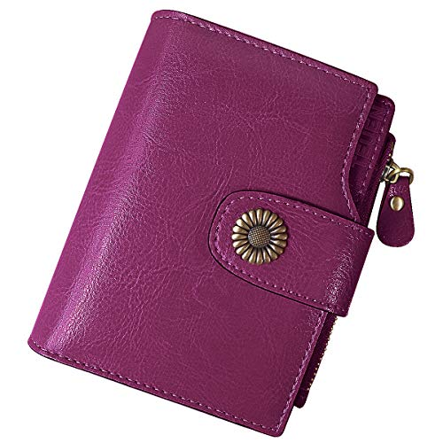 b305ba2e9 TEUEN Cartera Mujer Cuero Autentico con Bloqueo RFID Billetera Mujer Piel  Pequeña con Cremallera, Carteras