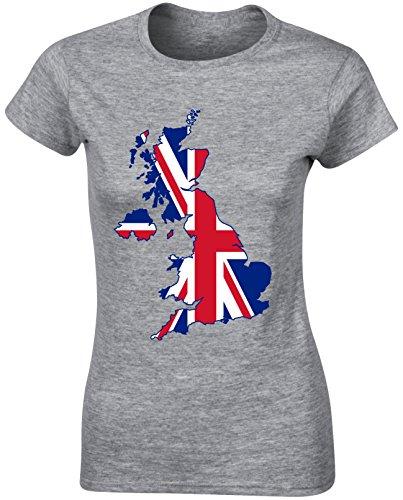 United Kingdom Map Great Britain Union Flag Sports Women T shirt Birthday Christmas - White, Light Pink, Grey Colour Ladies Tshirt
