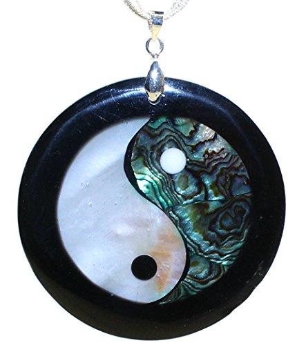 budawi - ''Yin und Yang'' Anhänger Perlmutt & Resin Ø 50 mm, Kettenanhänger eingefasst mit Öse