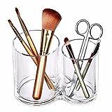 Doitsa Kosmetik Organizer aus Acryl Zwei Abteil Make up Aufbewahrung Kosmetikpinsel Behälter Pinselset Halter Stifthalter Becher Nein Deckel