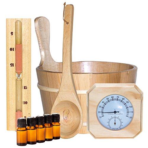 Sauna Set 10-teilig Saunazubehör Saunakelle Saunakübel Sanduhr Hygrometer Thermometer 5 x Duftkonzentrate