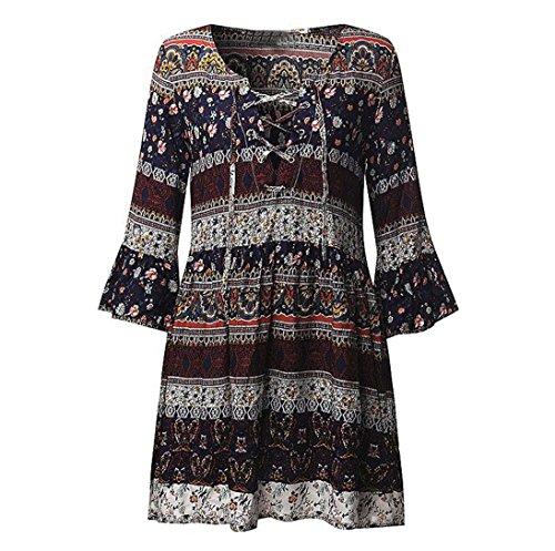 WOCACHI Damen Sommer Kleider Mode Frauen Plus Size Blumen gedruckt halbe lange Hülse V-Ausschnitt Boho Kleid Abendkleid Mini Kleid Marine