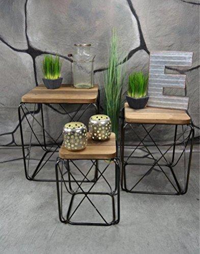 livitat beistelltisch couchtisch satztisch 3er set metall industrie look vintage loft living. Black Bedroom Furniture Sets. Home Design Ideas