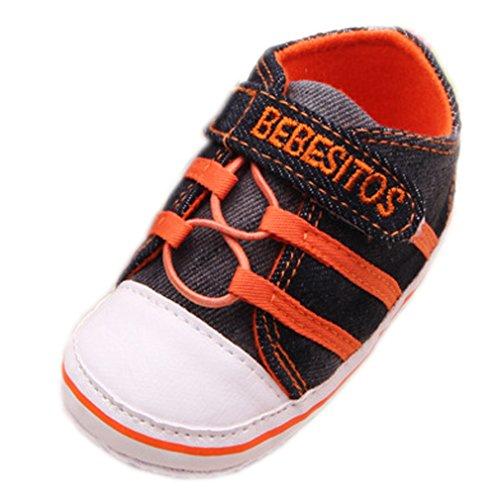 Bigood Chaussures Bébé Jean Tissu Premiers Pas Marche Antidérapant