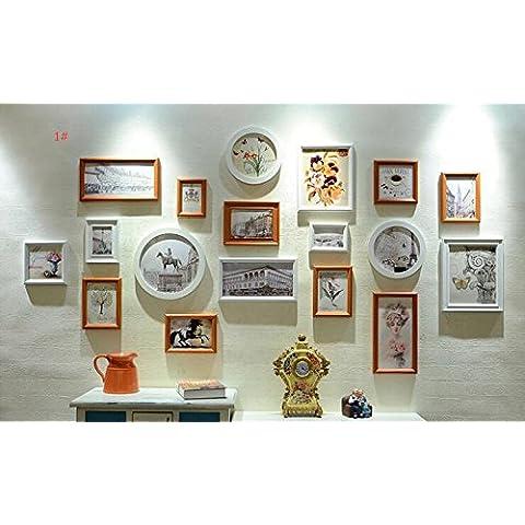 Jia&WY Cuadro madera retro foto marco pared/pared/continental salón foto marco del colgante de pared/creative Mediterráneo Oriental foto pared (18 cuadros) ,