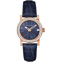 Wittnauer Women's Leather Band Gold Tone Steel Bracelet Quartz Blue Dial Analog Watch WN2000