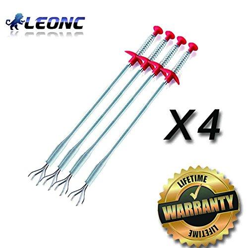 LEONC Drain capelli Clog Remover, 4 Pack scarico Snake Attrezzature / Auger Tipo di utensile di pulizia (4pcs)