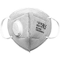 Máscara antipolvo de carbono a prueba de polvo – 5 capas de filtro insertar máscara protectora y válvulas para combustible, gas de escape, polen alergia, PM2.5, idea para correr, ciclismo, ciclismo, senderismo, esquí, carpintería, actividades al aire libre – 4 piezas