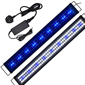 AquarienEco 2ft-5ft Aquarium Light for 90cm-125cm Coral Reef Plants Fish Marine and Cold Water Aquariums Tanks LED Hoods Fish Lights with UK Power Adapter