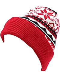 Sakkas Sloan Unisex Fold Over Classic Patterned Snowflake Design Winter Beanie Hat