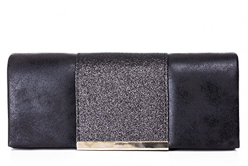 VINCENT PEREZ Damen Clutch Abendtasche Unterarmtaschen Umhängetasche aus Kunstleder Vintage Glitzer-Optik mit abnehmbarer Kette (120 cm) 25 x 11 x 5,5 cm (B x H x T), Farbe:Schwarz (Schwarz Geldbörse Glitter)