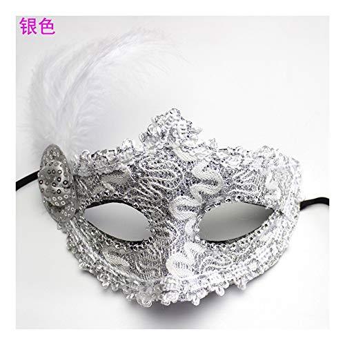 SCLMJ Halloween-Maskerade-Masken-Feder-Seiten-Hut-Hut Halbe Gesichts-Masken-Maske Für Maskerade, Silbrig