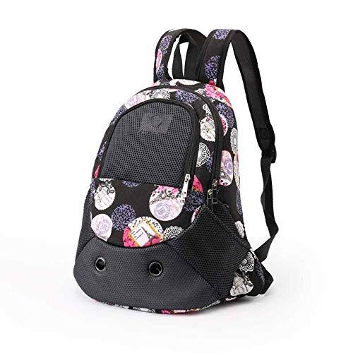 SHYSBV Haustier Rucksack Leinwand Outdoor-Reise Welpe überprüft Tasche Rucksack atmungsaktiv Reißverschluss Umhängetasche Welpe Katze Tasche@Blume drucken_43 x 32 x 16 cm -