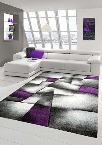 Designer Teppich Moderner Teppich Wohnzimmer Teppich Kurzflor Teppich mit Konturenschnitt Karo Muster Lila Grau Weiss Schwarz Größe 80x150 cm - Lila Teppich Und Schwarz