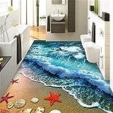 GBHL Benutzerdefinierte Bodenbelag 3d selbstklebende Bodenzeichnung Strand Wellen 3D Wohnzimmer Schlafzimmer Boden Malerei Papel de Parede, 250x175 cm (98,4 x 68,9 in)