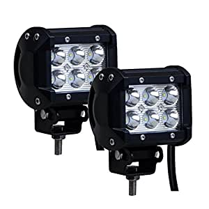 UniqStuff 2PC Fog Light Assembly 6 Led 18w Car Aux FOG LIGHT/WORK LIGHT BAR SPOT BEAM OFF ROAD DRIVING LAMP (FREE 1 Pair Led Parking)For Hyundai I10