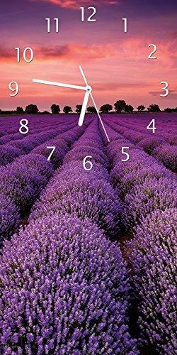 Ernte Design (Wallario Design Wanduhr Lavendelfeld unter rotem Himmel aus Acrylglas, Größe 30 x 60 cm)