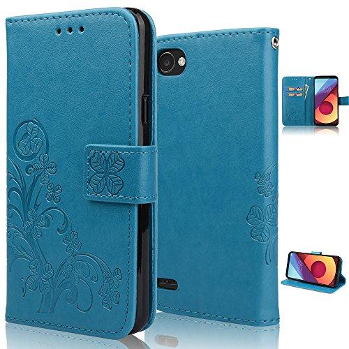 Funda LG Q6, achoTREE Afortunado Flor Carcasa para LG Q6, PU & TPU + [3 × suave Nano-tecnología película protectora] Azul 5.5 Pulgadas