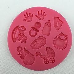 Idea Regalo - NiceButy Baby Shower Party Passeggino Mano Bottiglia Trojan Stampo in Silicone Sapone, Cioccolato per Decorazione di Torte attrezzo della Cucina