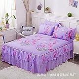 Hllhpc Couvre-lit lit Double Jupe Coton Aloe Jupe Ensemble lit Korean Princess Couvre-lit Purple Violet Lavande 200 cm * 220 cm