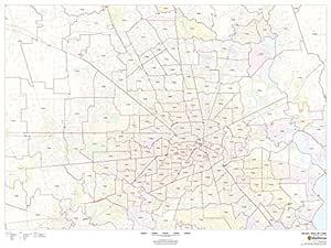 Houston Texas Zip Codes 48 X 36 Matte Plastic Wall Map