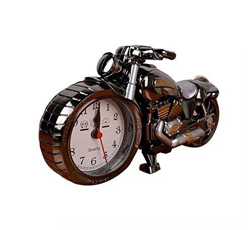 DONG Motorrad-Wecker der Luxus-Retro-Stil, kreative künstlerische Motorrad Tischuhr Modell für Haushalt Regal Dekorationen
