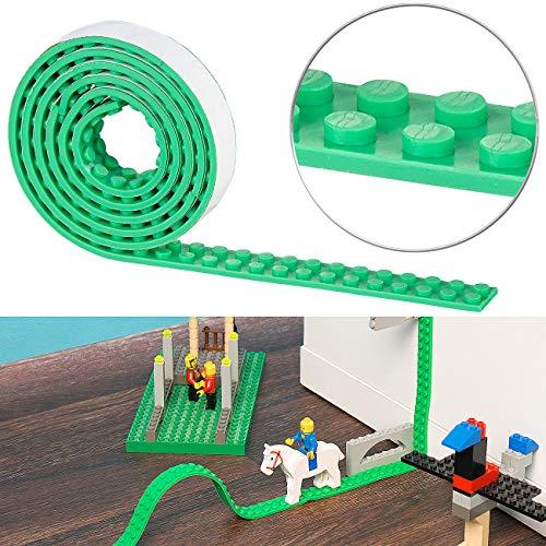 infactory Bauspielzeuge: Selbstklebendes Spielbaustein-Tape für gängige Systeme, 1 m, grün (Kinder Spielzeug)