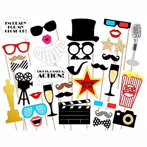 Kodoria Hollywood Photo Booth Requisiten 33 DIY Kits Papier Film Foto Requisiten auf Einem Stock