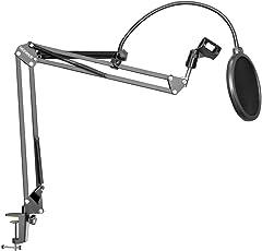 Neewer® nb-35nero microfono sospensione Boom Scissor braccio del supporto con morsetto di montaggio supporto per clip microfono e tavolo & NW (b-3) nero parabrezza pop Filter Mask Shield con supporto clip kit