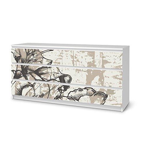Möbel-Folie für IKEA Malm 6 Schubladen (breit) I Dekor-Folie Klebefolie Sticker Aufkleber Möbel umgestalten I kreativ einrichten Schlafzimmer-Möbel Gestaltungsidee I Muster Ornament Styleful Vintage 1