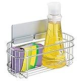 mDesign AFFIXX Estantes de cocina para lavavajillas, estropajos, etc. – Estantería metálica de pared autoadhesiva – Balda para cocina sin taladro – Color: plateado