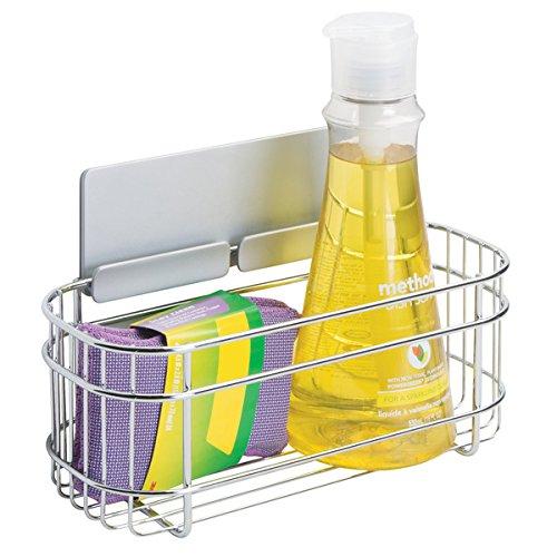 mDesign AFFIXX Estantes de cocina para lavavajillas, estropajos, etc. – Estantería metálica...