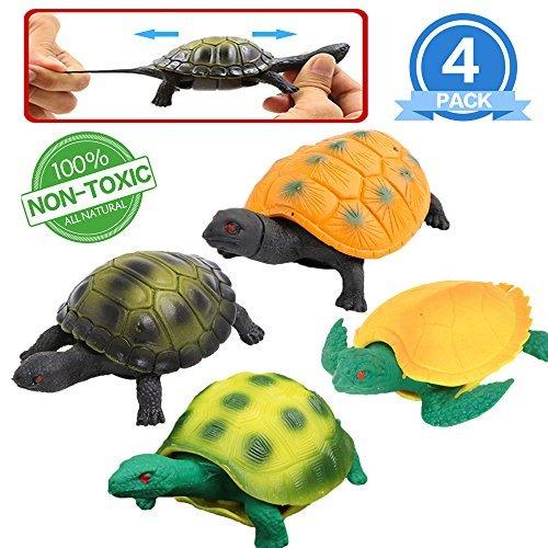 pielzeuge in Form von Schildkröte-Set,Gummi 5 inch (4 Packungen),sicheres Material TPR,super dehnbar,kann in den Panzer stecken,Meerestiere,Badespielzeuge,Partyzubehör,Spielzeuge für Jungs und Kinder
