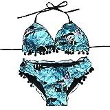 Beikoard Bademode Bikini Set, Damen Bikini Set Wave Rand Streamer Ball sexy Floral bedruckt Badeanzug Push-up bunte schöne Bademode (Blau, S)